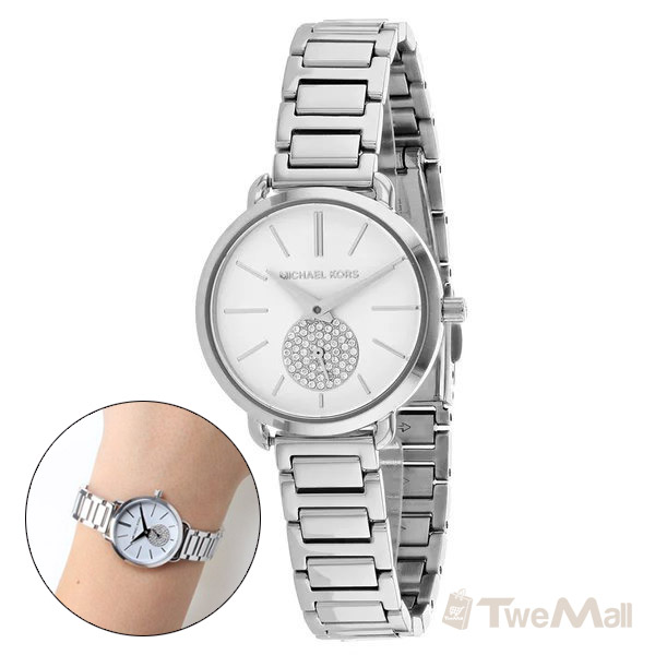MICHAEL KORS MK 鋼錶帶 鑽錶 女錶/手錶/腕錶(銀色)