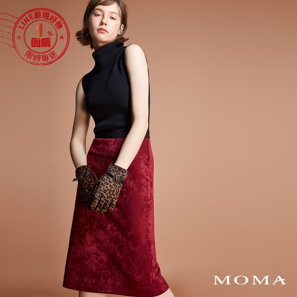 MOMA(92S064)麂皮彈性直筒裙