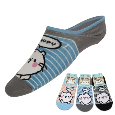 majimeow 麻吉貓 Happy麻吉貓圖案腳跟矽膠止滑女性隱形襪/船襪~12雙