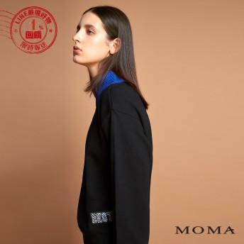 MOMA(92M039)跳色羅紋立領針織上衣