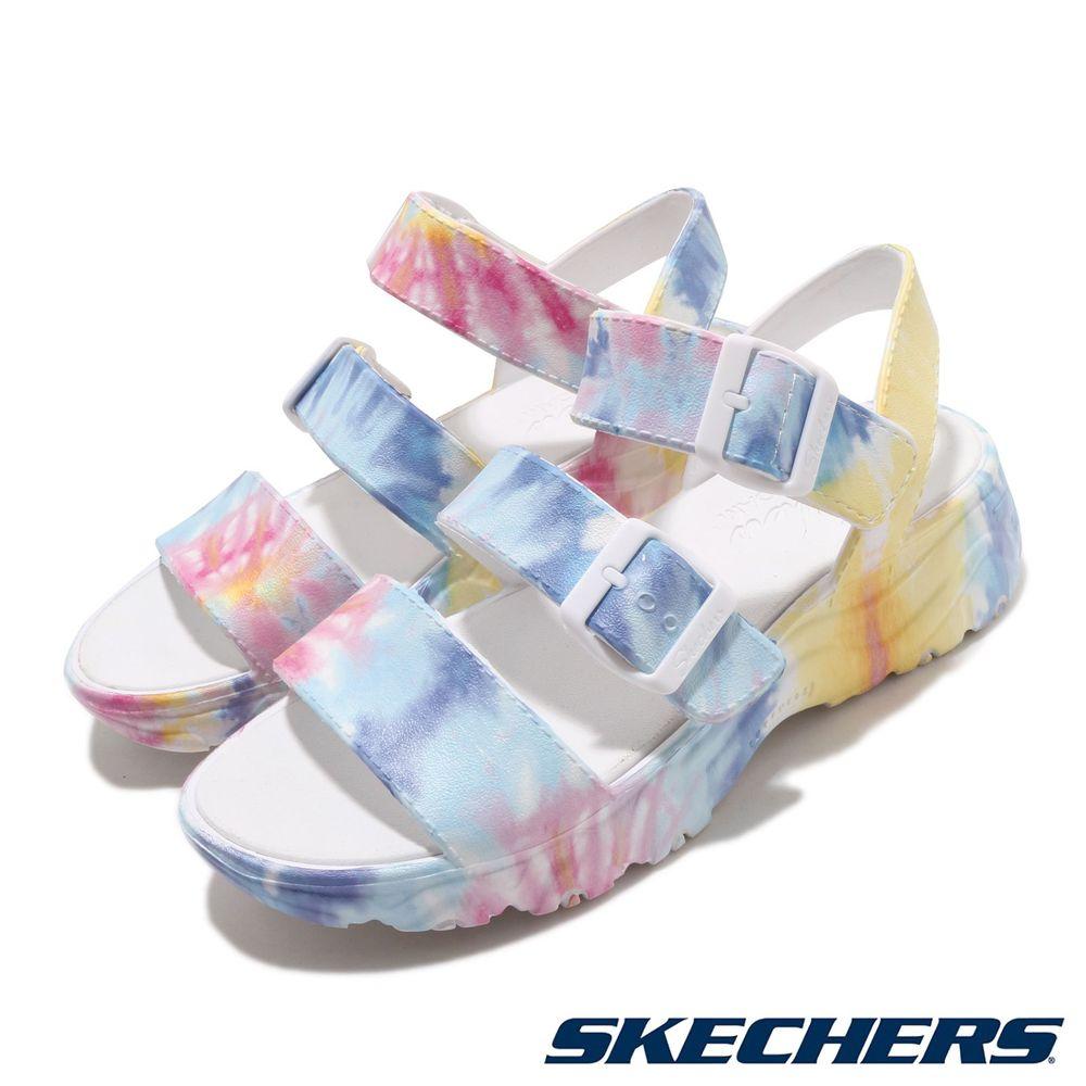 SKECHERS 涼拖鞋 D Lites 2.0 休閒 女鞋 鞋面可調 微增高 修飾腿型 渲染 白 彩 [111068MLT]