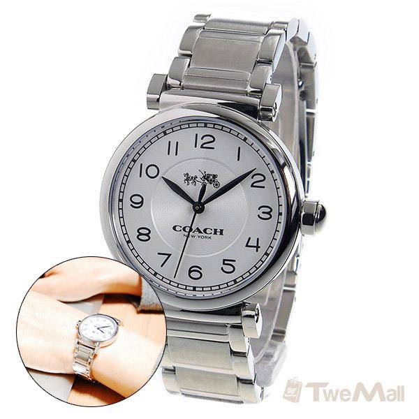 COACH 鋼錶帶 女錶/手錶/腕錶(銀)