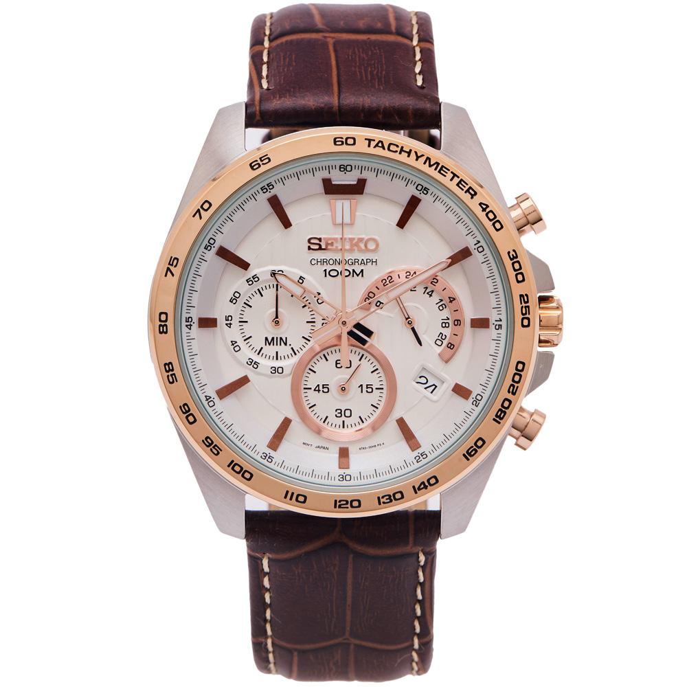 SEIKO 疾風競速風格的計時皮革錶帶手錶(SSB306P1)-白面X咖啡色/44mm