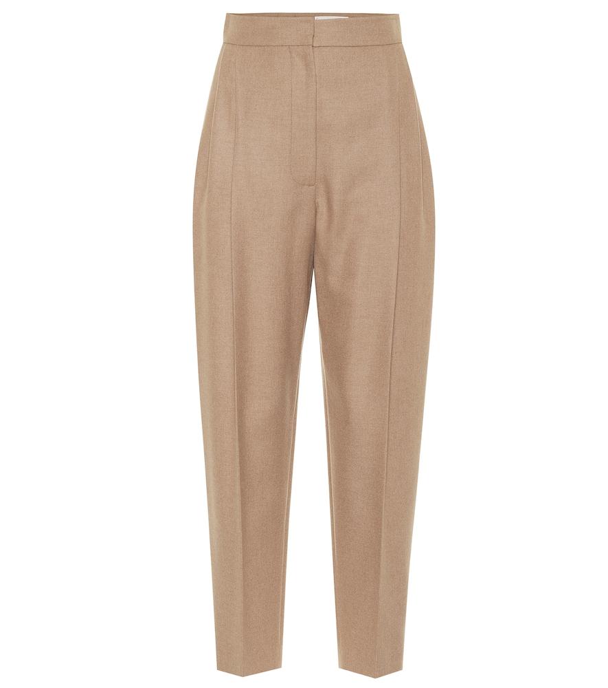 High-rise camel-hair pants