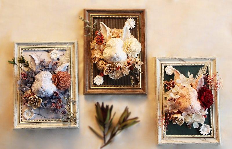 手作-乾燥花兔子擴香相框 聖誕 禮物 交換禮物 約會 送禮 生日禮物 擴香石 精油 相框