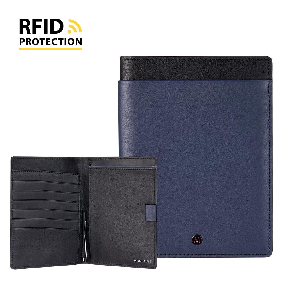 MONDAINE 瑞士國鐵 蘇黎世系列 RFID防盜6卡雙本護照夾 - Nappa藍