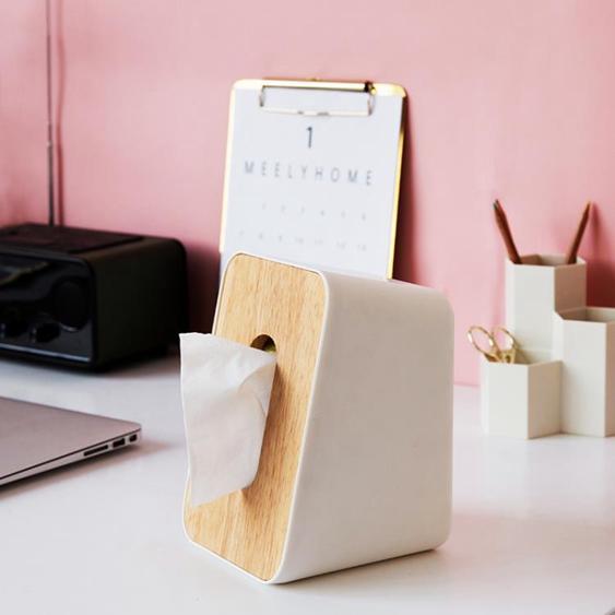 米立風物 日式簡約紙抽盒木蓋面紙盒 立式家用抽取式紙巾收納盒