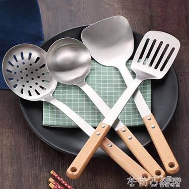 不銹鋼廚具鍋鏟套裝三件套炊具木柄廚房用品鏟子湯勺子全套家用