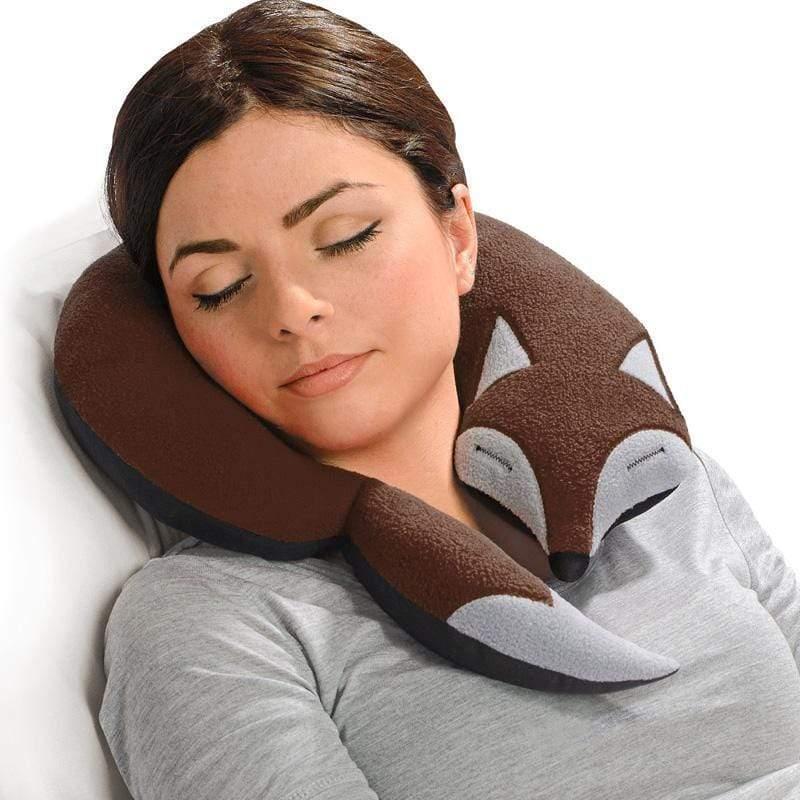 旅行枕頭/辦公室、教室午休枕頭- 狐狸造型 (咖啡色)