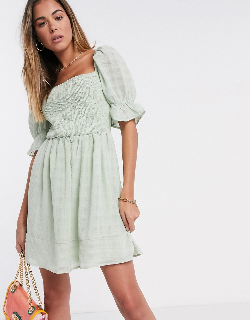 Missguided shirred textured skater dress in mint-Green