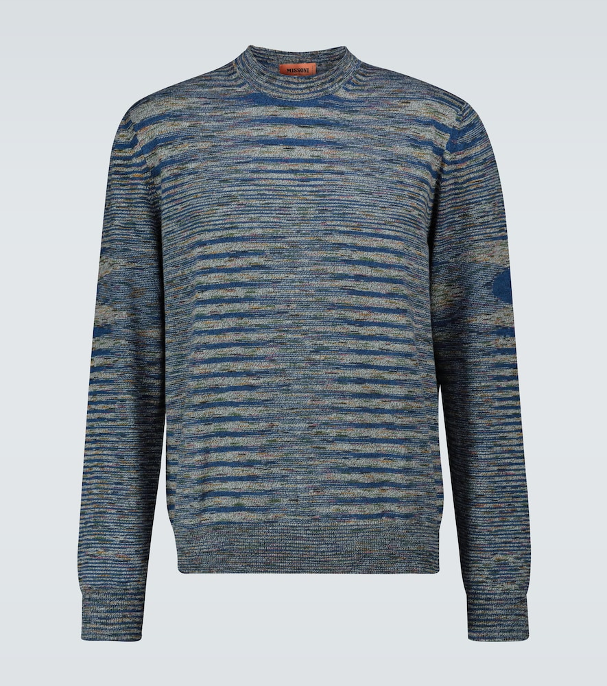 Striped long-sleeved crewneck sweater
