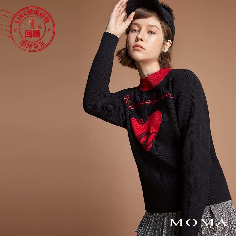 MOMA(92KM90)字母愛心立體毛線上衣