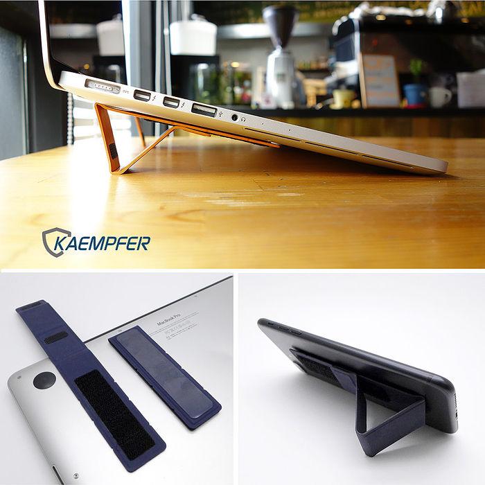 [Kaempfer] All-in-1 筆電/平板/手機可重複黏貼萬用支架典雅皮革_尊爵黑