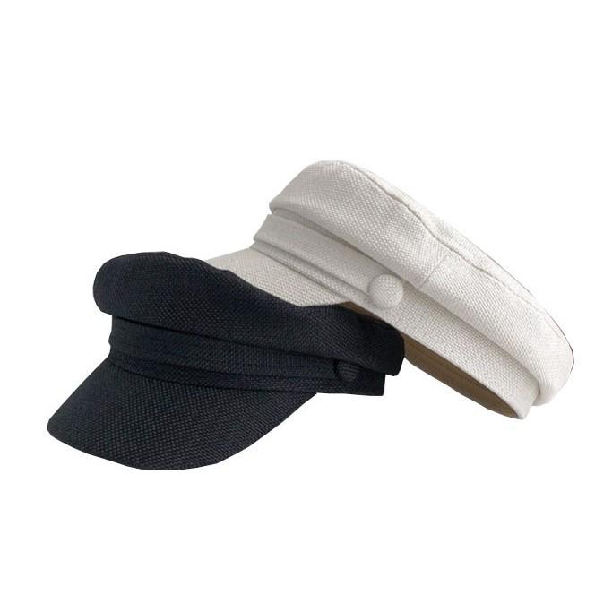 網紅日系復古 白色創意平頂帽 棉麻海軍帽子女 韓國ins英倫八角貝雷帽 四季通用帽