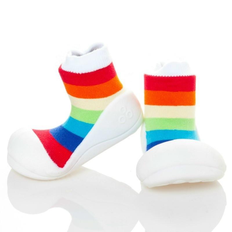 快樂學步鞋-彩虹白底- M