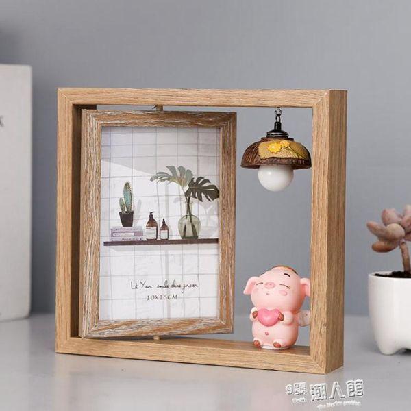 相框 創意輕奢北歐個性鐵藝相框擺臺ins木質雙面相架簡約現代擺件6寸
