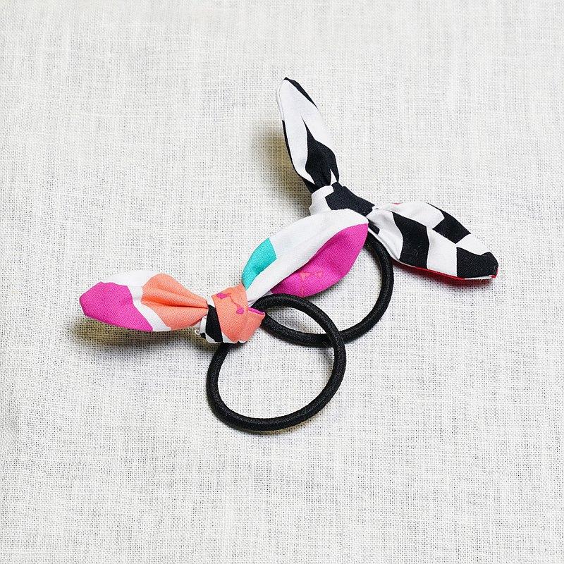 雙面兔耳蝴蝶結髮束 - 繽紛