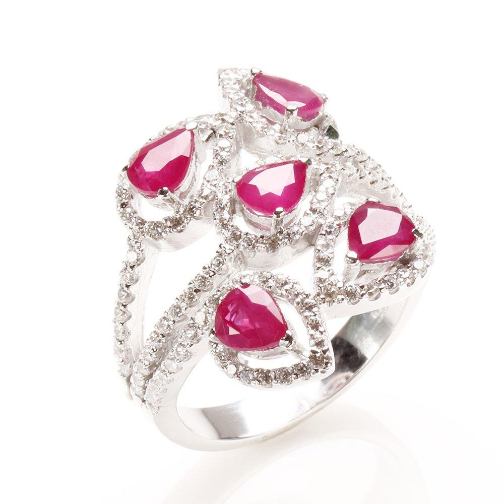 【雅紅珠寶】天然紅寶石戒指-925銀飾-百花齊放