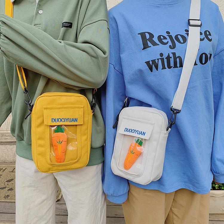 【Bfuming】現貨 日系可愛 卡通 送小蘿蔔 斜挎帆布包 帆布小包 創意 透明 軟妹小包 斜挎包 手機包 出遊包