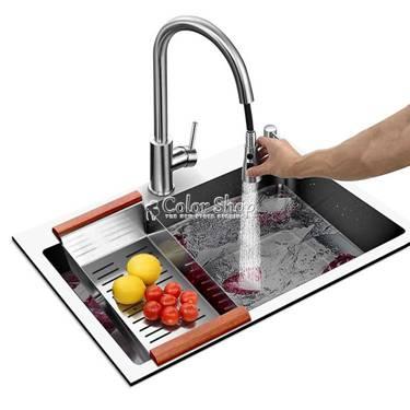 不銹鋼洗菜盆加厚手工水槽單槽 廚房洗碗盆碗池套裝家用304 交換禮物 YYP
