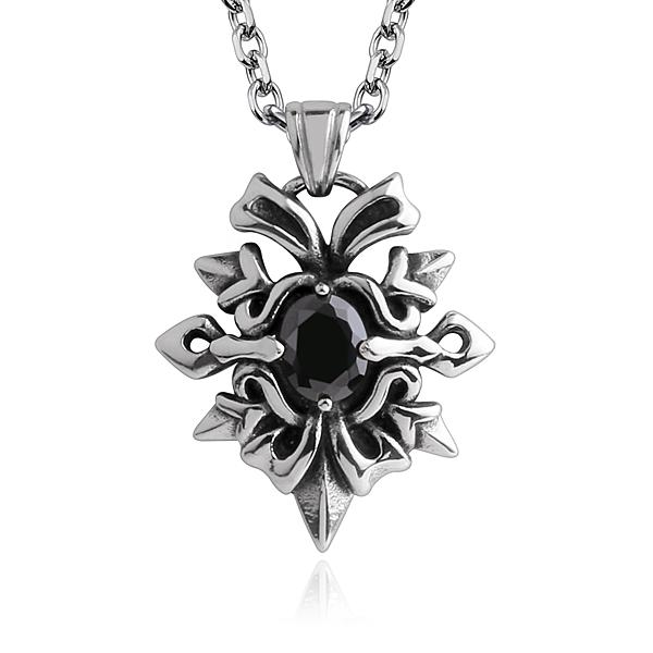 情人節禮物AchiCat 鋼項鍊 捍衛之戰 白鋼項鍊 盾牌 徽章項鍊 送刻字 個性項鍊 生日禮物 黑鋯 C8051