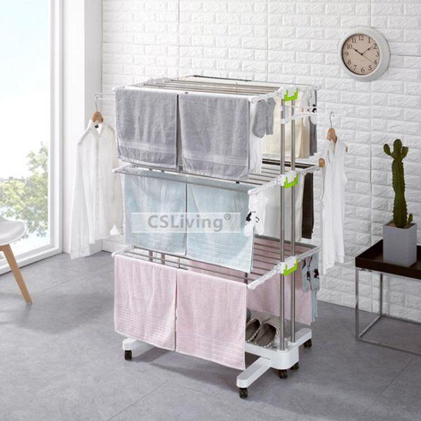 韓式晾衣桿不銹鋼多功能折疊落地室內兒童新生嬰兒尿布毛巾衣服架