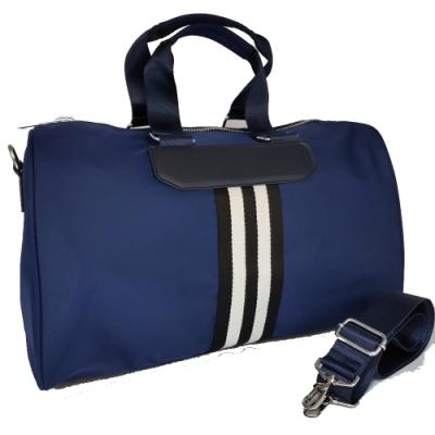 【Misstery】旅行袋休閒旅遊斜背大包-藍(台灣防潑水面料)
