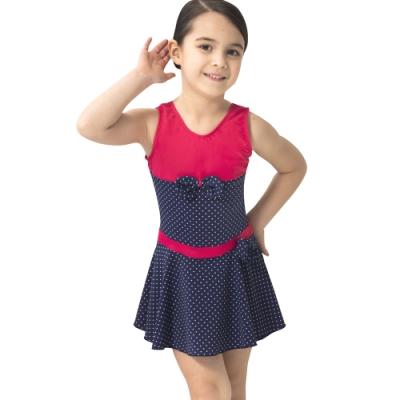 沙兒斯 兒童泳裝 紅藍配搭蝴蝶結飾連身裙式女童泳裝