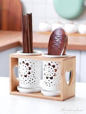 陶瓷筷子筒多功能雙筒筷子籠家用廚房收納瀝水筷架筷子置物架日式