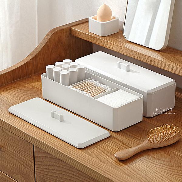 多功能附蓋棉花棒收納盒 防塵收納盒 小物收納盒