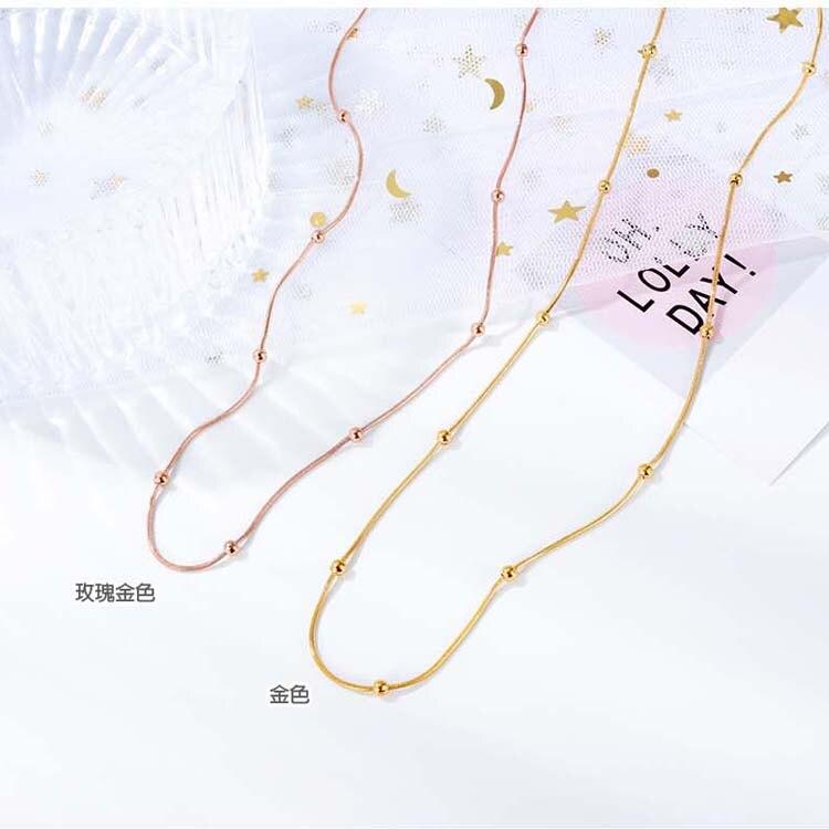 【5折超值價】時尚精美圓珠鏈條造型女款鈦鋼項鍊