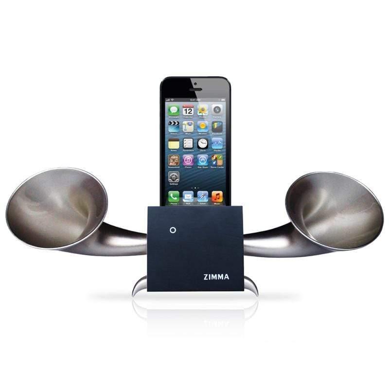 ZIMMA 山毛櫸立體雙聲道擴音器  (iPhone SE/5&4/iPod Touch 5)- 經典黑+閃霧銀 (i6以上機種不可用,Android不可用)