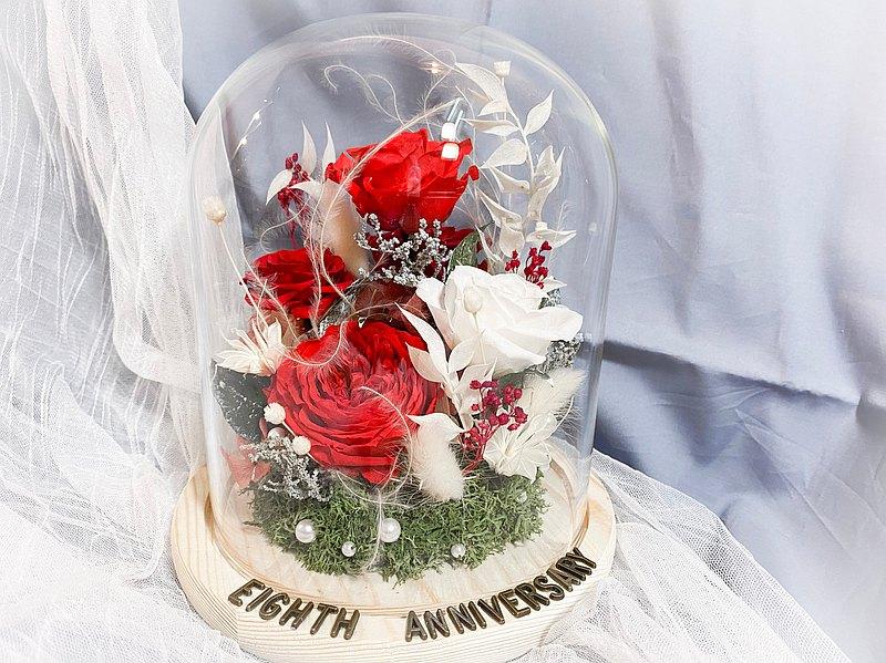 聖誕 永生花玻璃罩盅 含禮盒 聖誕節 聖誕禮物 生日禮物