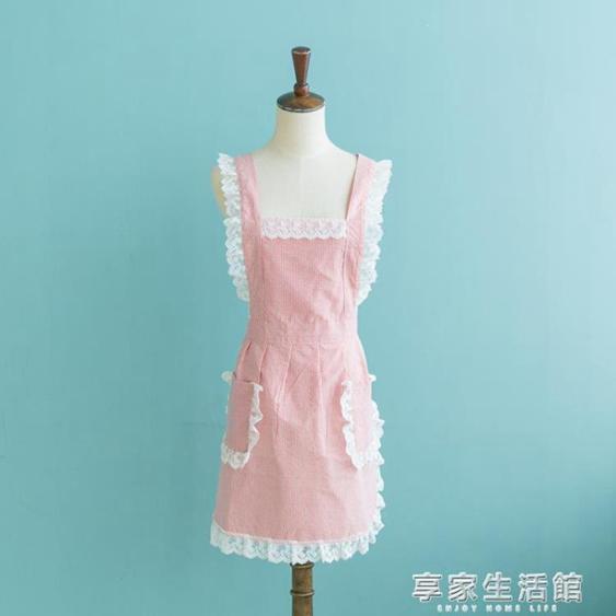 圍裙韓版時尚可愛做飯防水防油豎條女士工作服廚房咖啡店圍腰-