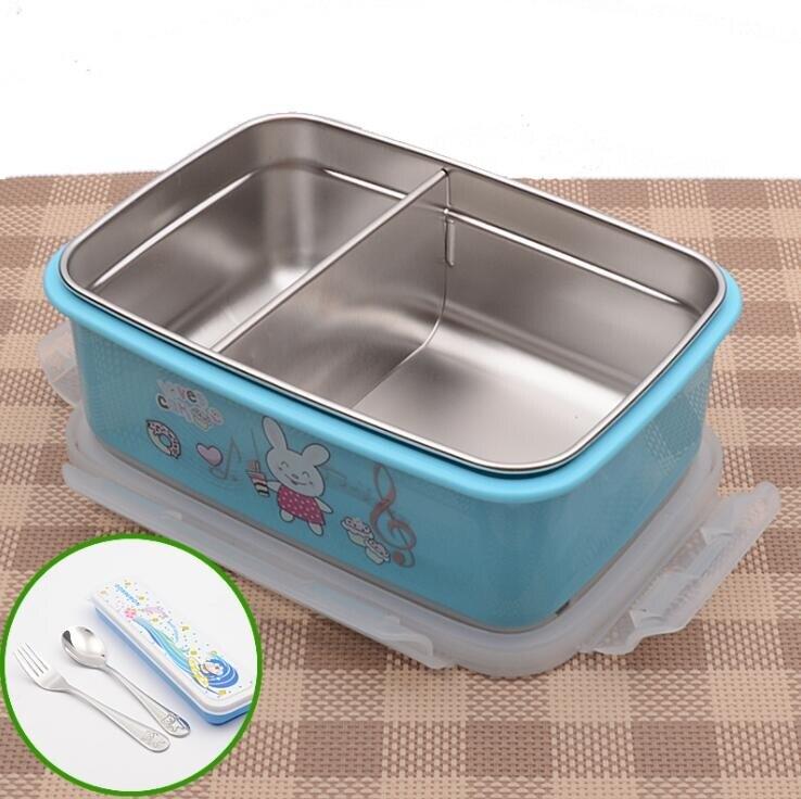 保溫飯盒 正韓304不銹鋼兒童飯盒可愛中小學生保溫餐盒分格長方形分層帶蓋