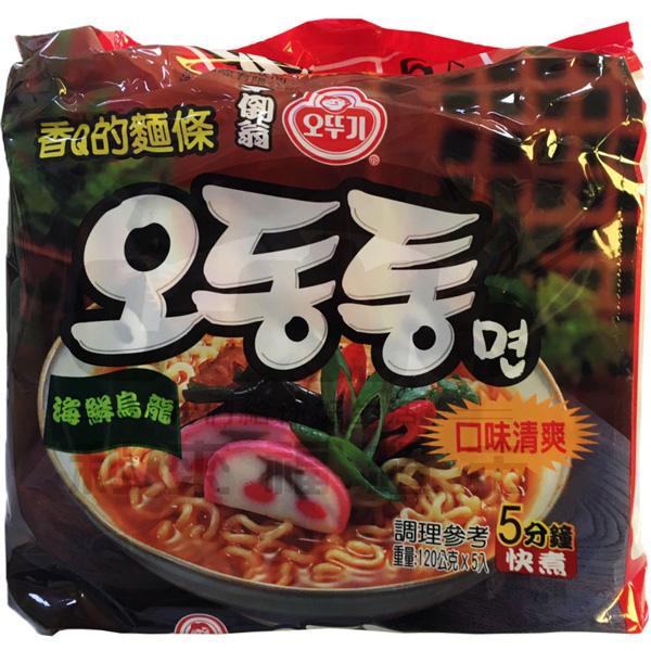 韓國不倒翁(OTTOGI)海鮮風味烏龍拉麵 120gX5入