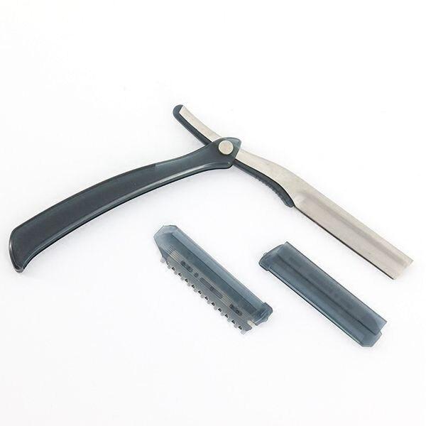 剃鬚刀刮刀理發剃刀片架刮胡刀手動老式剃須刀復古不銹鋼美發店專用家用