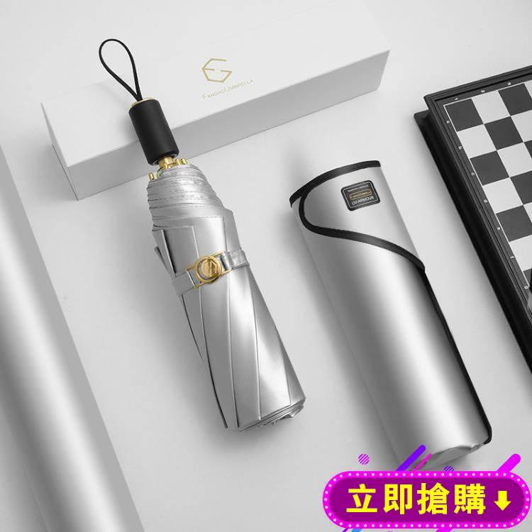 雙層太陽傘超強防曬防紫外線傘女鈦銀折疊黑膠遮陽傘upf50 降溫傘