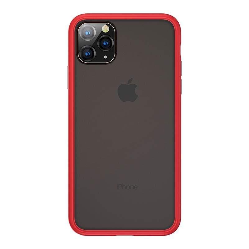 "Apple iPhone11 (6.1"") 磨砂膚感防摔手機保護殼-胭紅"