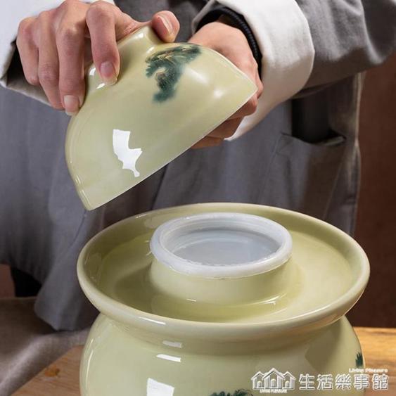 景德鎮陶瓷家用泡菜壇子酸菜咸鴨蛋小號內蓋老式密封防潮陶罐糖罐