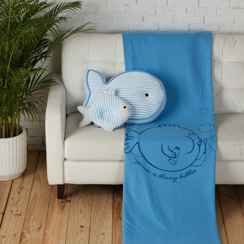 泡泡魚薄紗被-雙人(2色可選) 灰藍