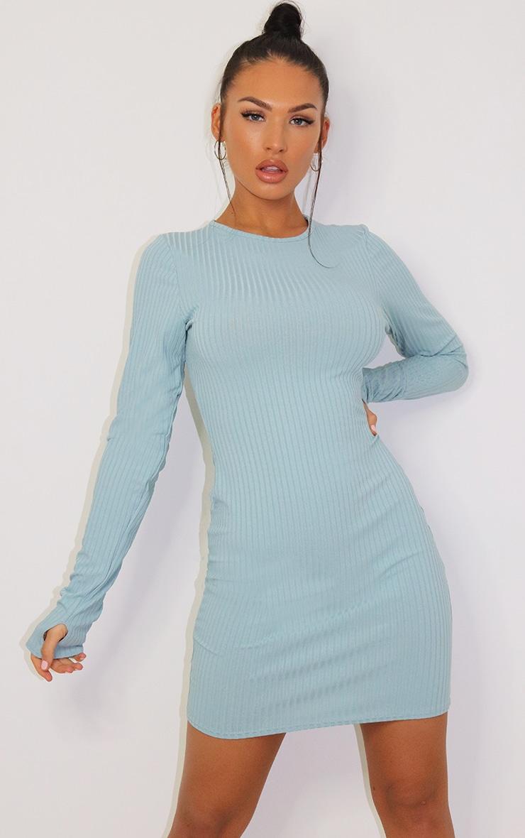 Mint Long Sleeve Thumb Hole Bodycon Dress