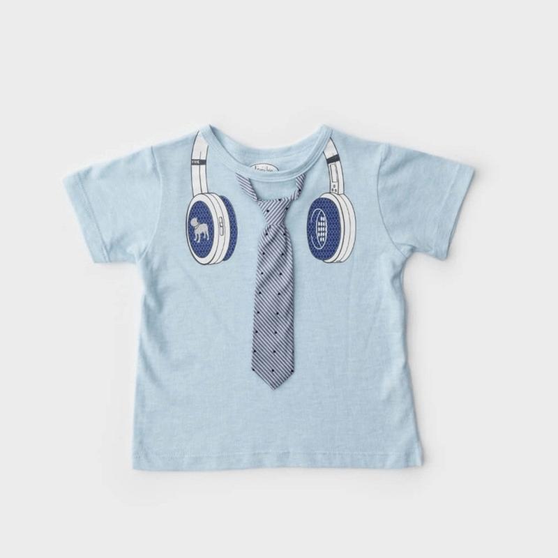 男童短袖上衣 - 小型男耳機領帶(淺藍) 3歲
