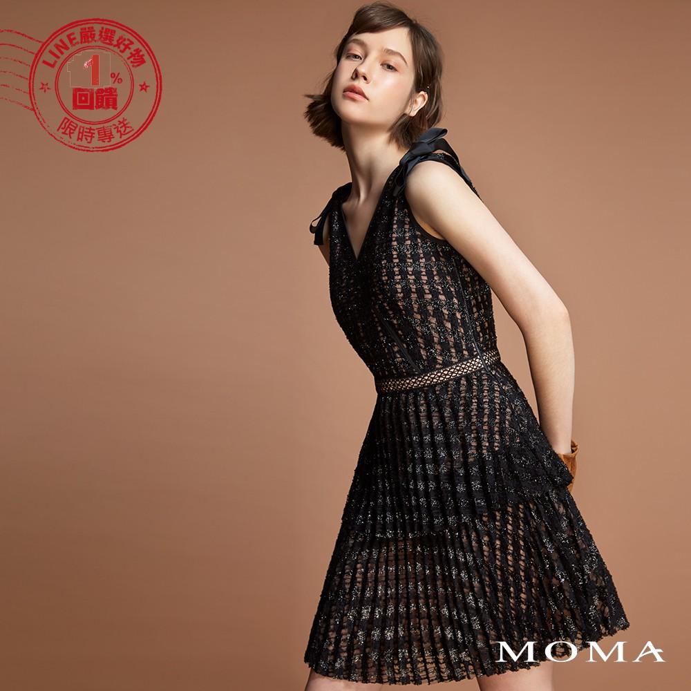 MOMA(92D060)V領優雅壓褶洋裝