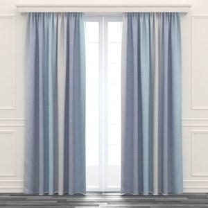 星星鏤空雙層紗簾 寬290x高210cm 藍色