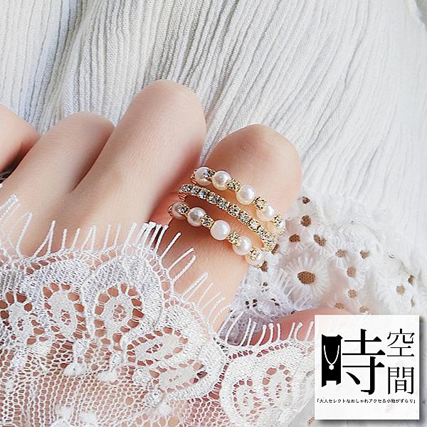 『時空間』奢華耀眼三層排鑽珍珠交織戒指 -單一款式