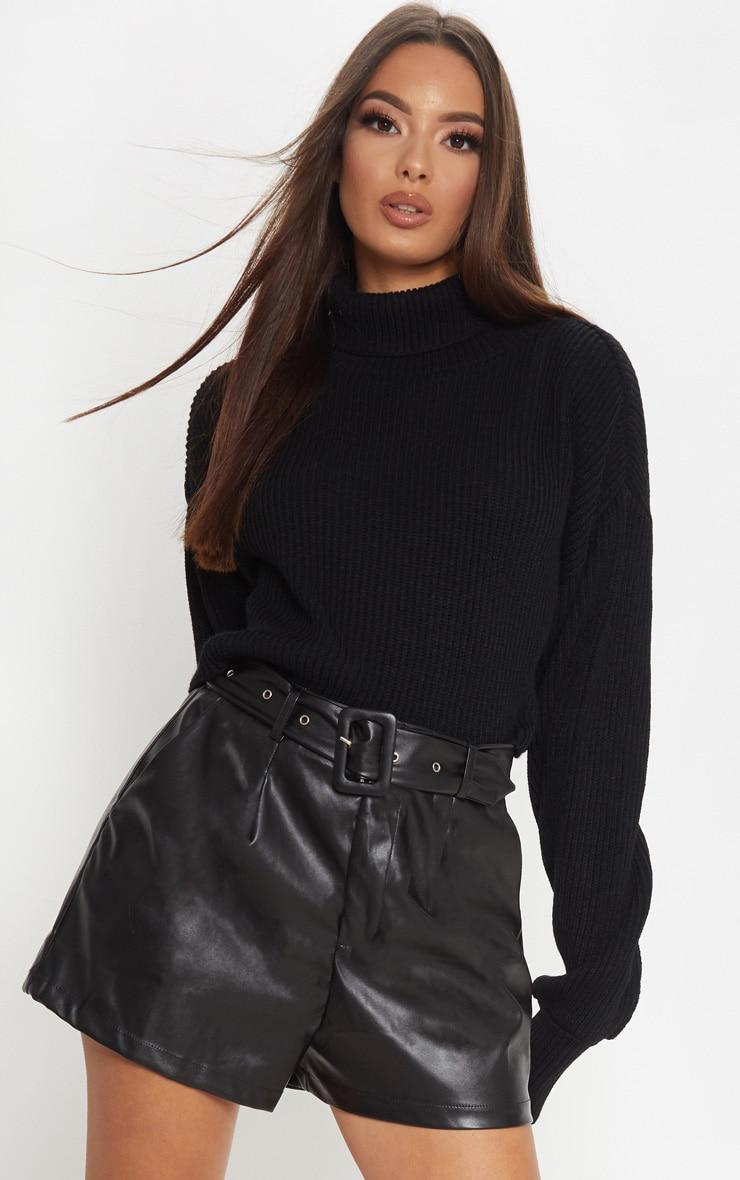 Black Faux Leather Belted Short
