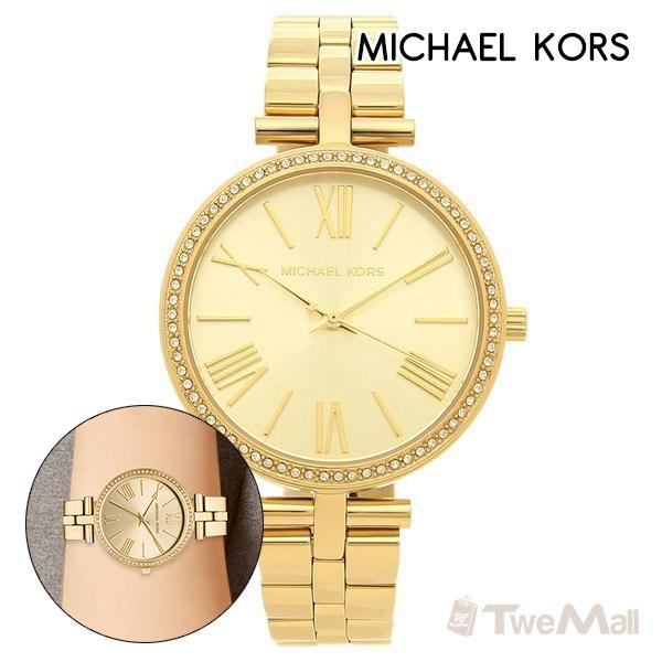 MICHAEL KORS MK 鋼錶帶 鑽錶 女錶/手錶/腕錶(金色)
