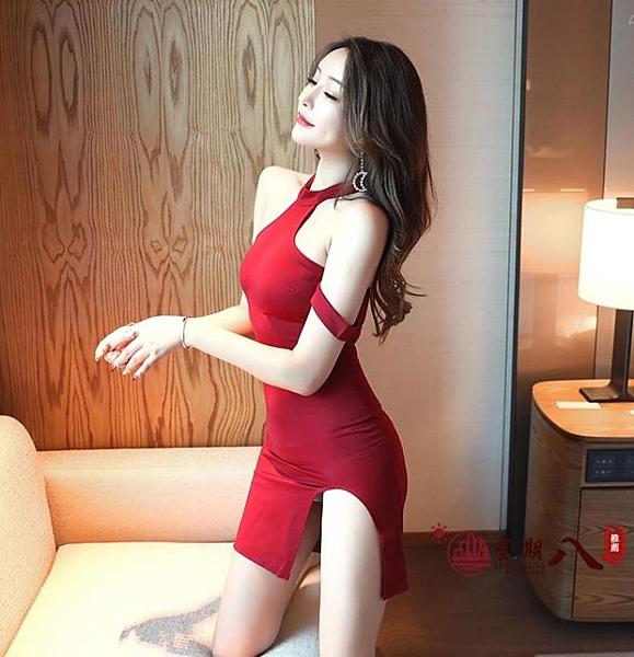 夜店洋裝 夏季新款性感無袖插肩袖掛脖開叉夜店氣質修身連身裙 VK369