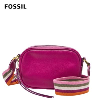 FOSSIL Maisie 真皮立體斜背包-洋紅色 SHB2642508